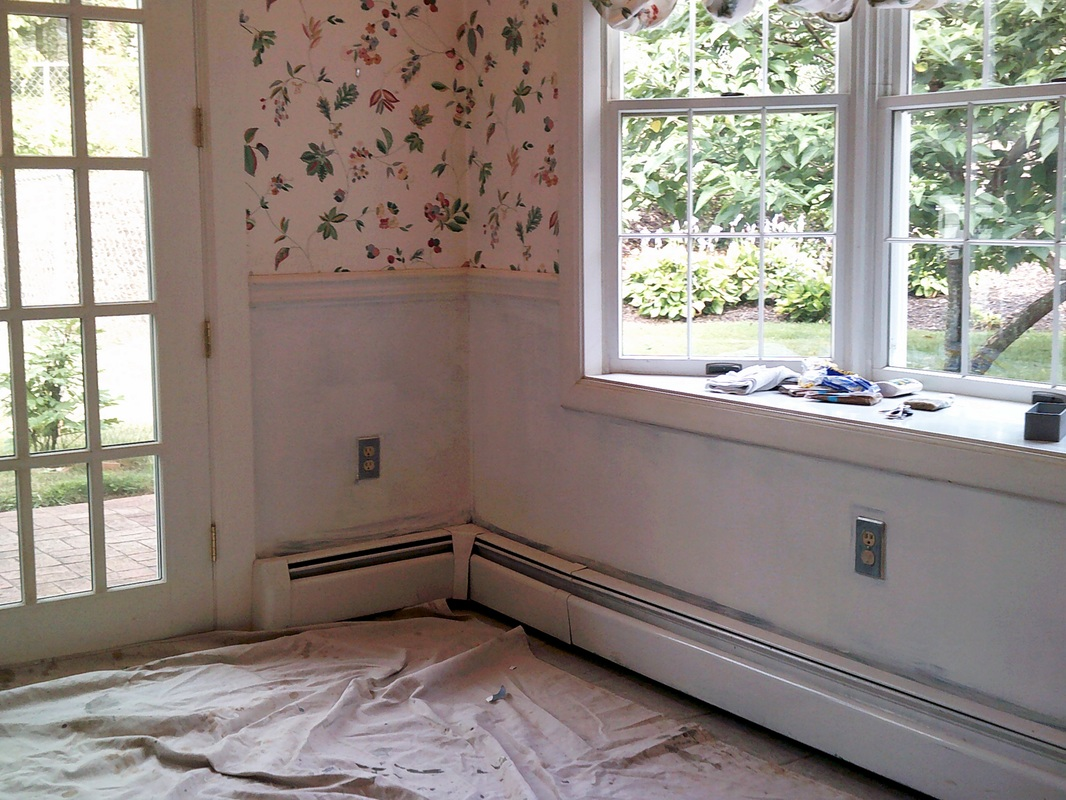 Picture of caulked and primed wallpaper