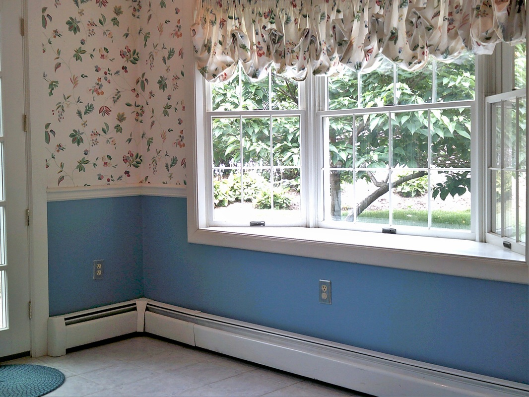 Picture showing how to paint over wallpaper