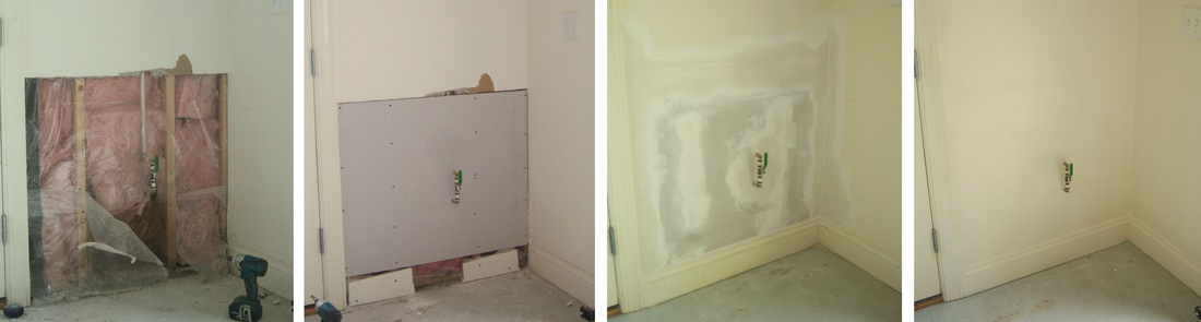 Picture of before, during and after wall repair