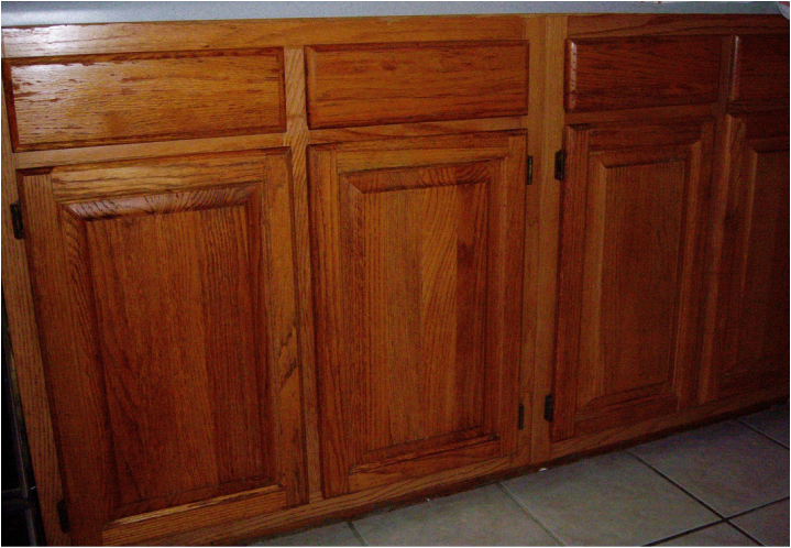 Touch up and refinish old cabinet doors