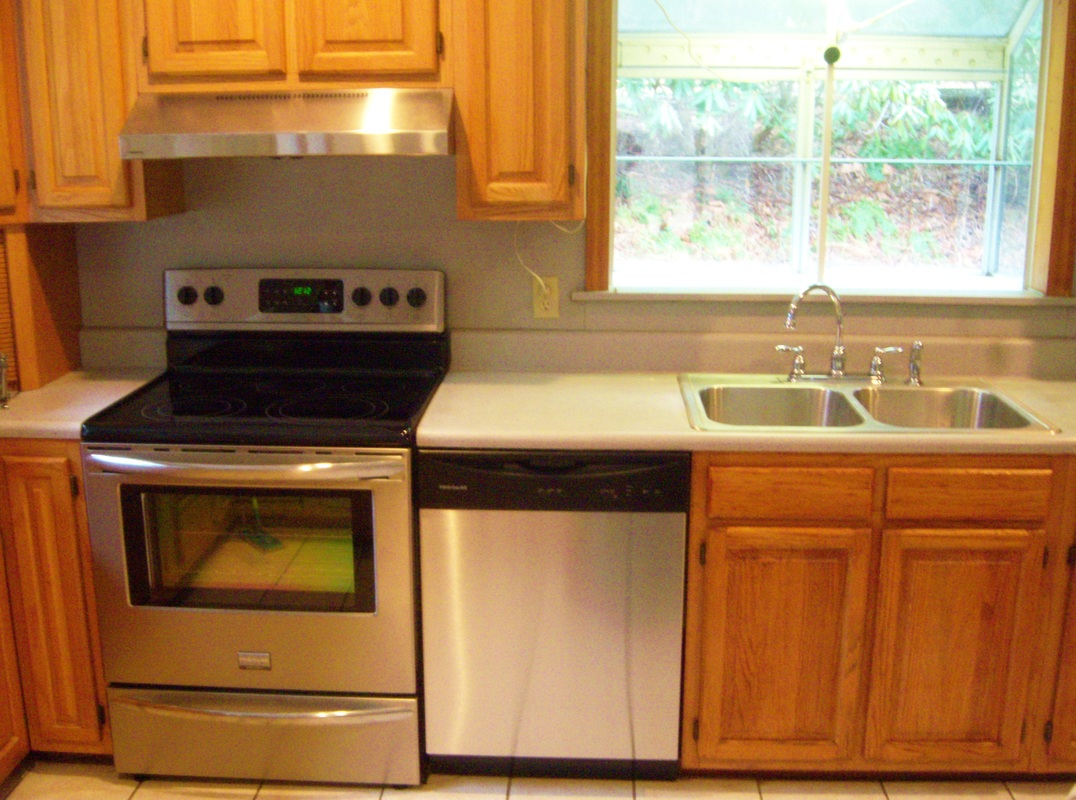 Kitchen renovation on a budget with appliance installation.